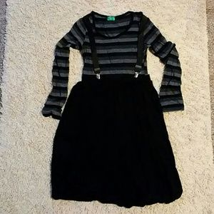 Black and gray dress with suspenders